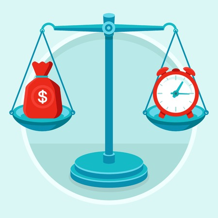 weigher: Time is money - vector concept in flat style - bag of money and alarm clock on the weigher Illustration