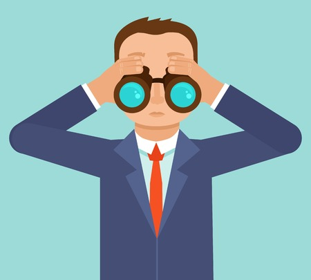 future vision: Vector businessman looking for future trends through binoculars  - business and strategy metaphor - illustration in flat style