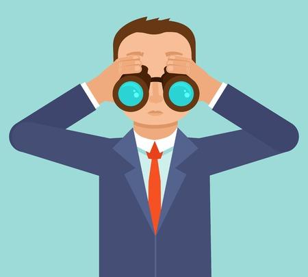 Vector hombre de negocios en busca de las tendencias futuras a través de binoculares - metáfora de negocios y la estrategia - ilustración en estilo plano Ilustración de vector