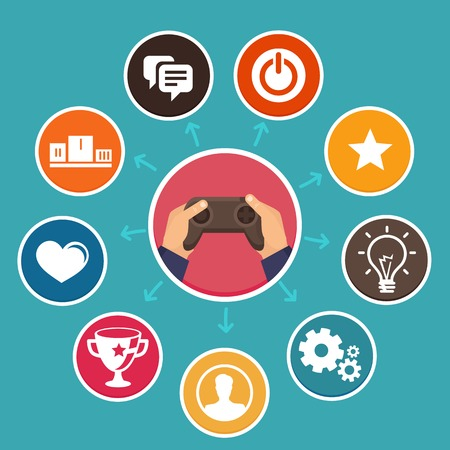 gaming: Vector concept in flat style - new trend in online business - gamification. Design elements and icons with rewards and achievement badges