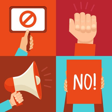 Vector protest signs and icons in flat style Vector