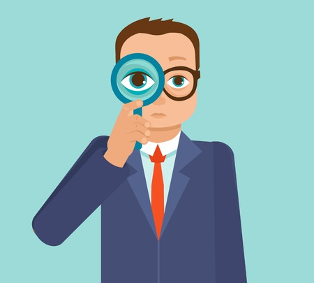 boy with glasses: Vector businessman looking for future trends through magnifier - business and strategy metaphor - illustration in flat style Illustration