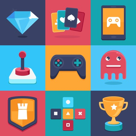 gaming: Vector online and mobile game icons and signs - concepts for apps - trendy illustrations in flat style