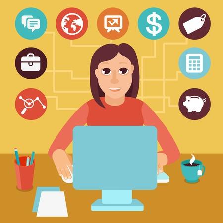 empleadas: Vector trabajadores aut�nomos hombre en estilo plano - sentado en el equipo y trabajar en proyectos independientes - infograf�a con los iconos y signos Vectores
