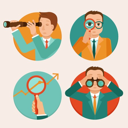 spyglass: Vector businessmen looking for future trends - business and strategy metaphor - illustrations in flat style