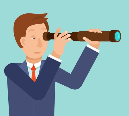 Vector businessman looking for future trends through telescope - business and strategy metaphor - illustration in flat style Vector