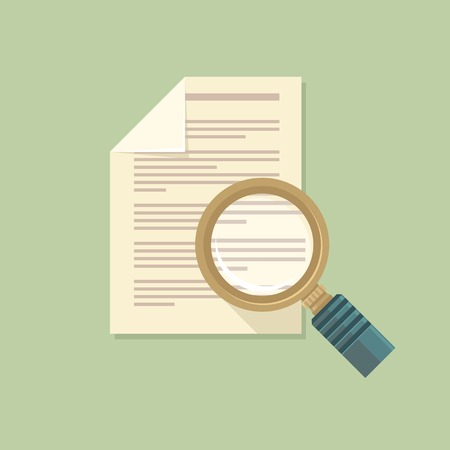 Vector icon in flat style - magnifier and paper document Vector