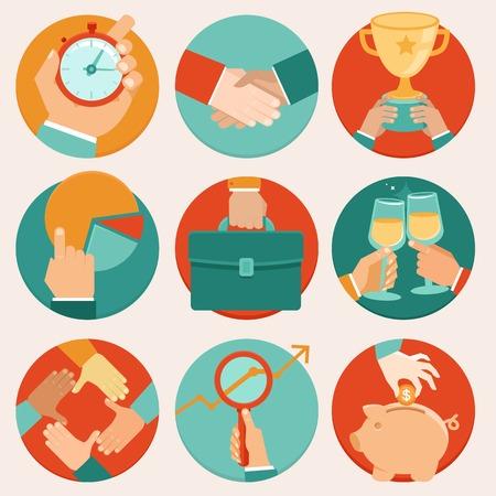 Vector business concepts de style plat - gestion du temps, statistiques et recherche Vecteurs
