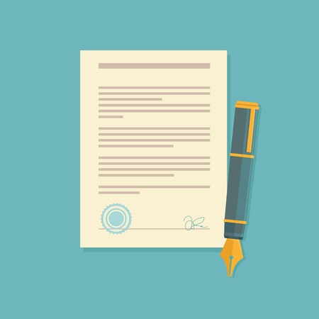 sign contract: Vector agreement icon in flat style - contract and pen