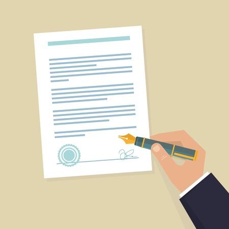 contrato de trabajo: Vector icono de acuerdo - ilustraci�n plana - contrato de firma de la mano en papel blanco Vectores