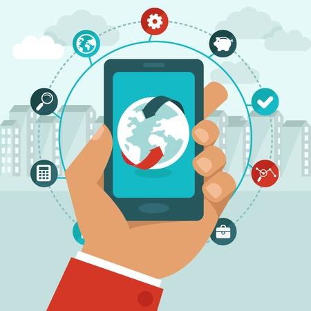 globális üzleti: Vektor mobiltelefon ikonok lapos stílusban - a globális üzleti koncepció - hálózatépítés app Illusztráció