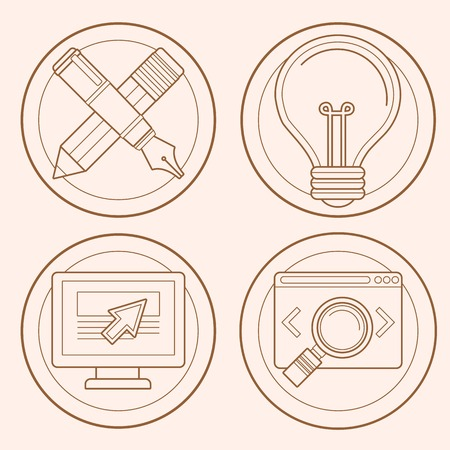 Vector web design and development emblems in flat style - graphic design and internet business icons Vector