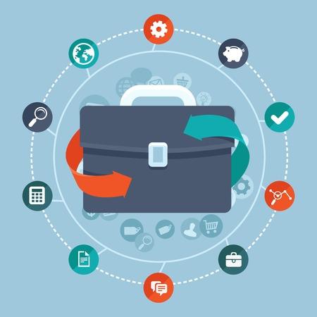 フラット スタイル-世界的なネットワークとオンライン通信アイコンやサインでベクトルのグローバル ビジネス コンセプト