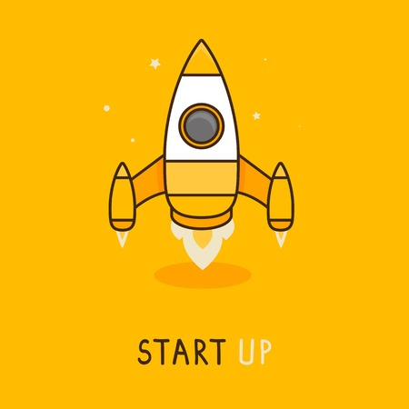 new business: Vector launch icon in flat style - space rocket icon - new business concept Illustration