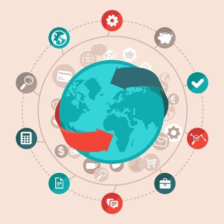 플랫 스타일에서 벡터 글로벌 비즈니스 개념 - 전세계 네트워크 및 온라인 통신 아이콘 및 징후 일러스트