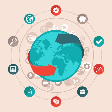 Vector concepto de negocio global en el estilo plano - la red y de la comunicación en línea iconos y signos de todo el mundo Foto de archivo - 27321203