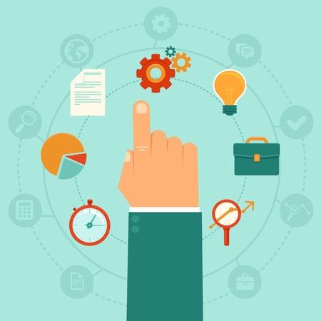 Vector concept - bedrijfskunde beheer - pictogrammen en infographic designelementen in vlakke trendy stijl Stock Illustratie