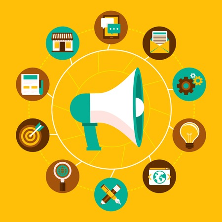 Vector internet marketing concept in flat style - megaphone and icons -online business infographic design elements