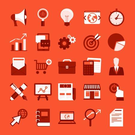 상업: 인터넷 마케팅, 온라인 비즈니스, 디지털 상거래 디자인 요소 - 플랫 스타일에서 설정 벡터 유행 아이콘