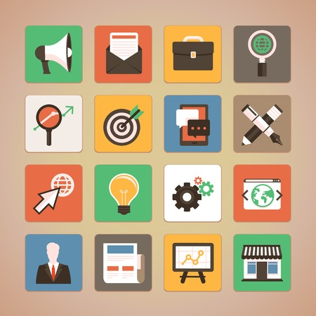 programing: Vector trendy icon set in flat style - internet marketing, online business and digital commerce design elements