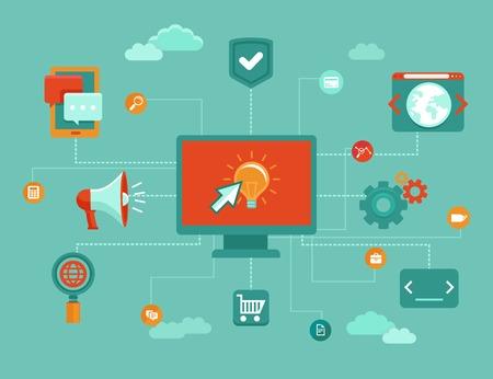 programing: Concepto en l�nea del vector - la comercializaci�n del Internet y buisness iconos y elementos de dise�o en estilo plano