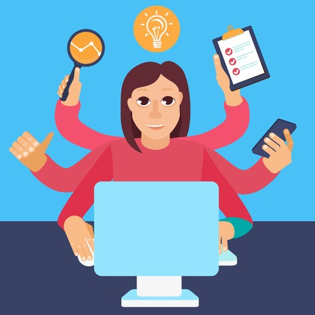 Vector self employment concept in flat style - multitasking woman working on different projects from her home office Illustration