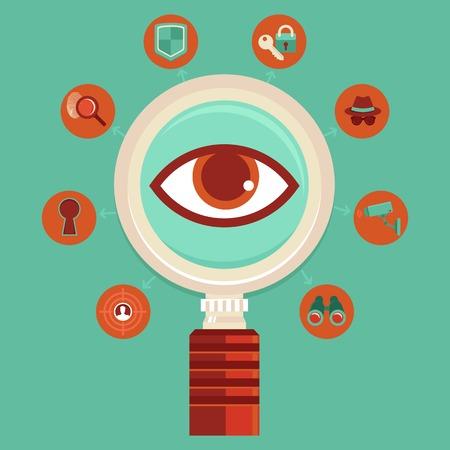 Vector toezicht en controle concepten - big brother is watching - massale spionage infographic designelementen in vlakke stijl