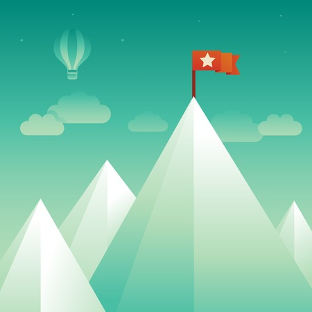 Vector victory concept in flat style - abstract mountain peak with red flag Vector