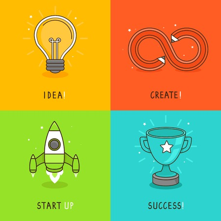 Vector new business icons in flat style - start up concepts in bright colors Illustration