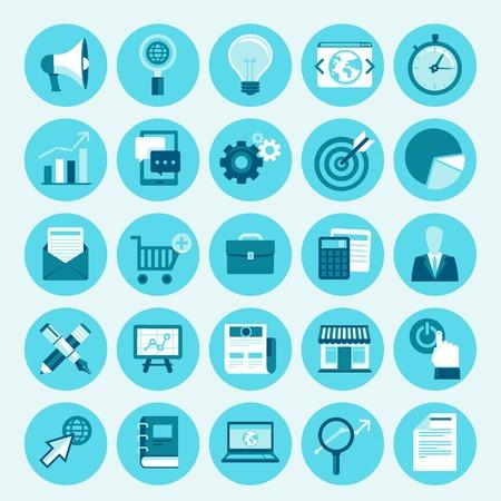 ベクトル トレンディなアイコン セット フラット スタイル - インターネットのマーケティング、オンライン ビジネス、デジタル ・ コマースのデザ  イラスト・ベクター素材