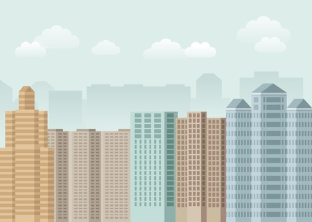Vector urban concept in flat style - skyscrapers and modern tall buildings - city illustration Vector