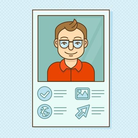 cv: Perfil del hombre del vector - resume la tarjeta de visita con el retrato