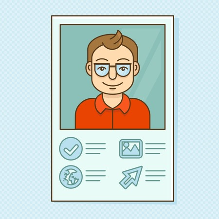 Vector man profile - resume business card with portrait Vector