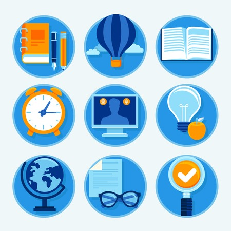 Vector education icons in flat style and bright colors - studying and learning signs Vector