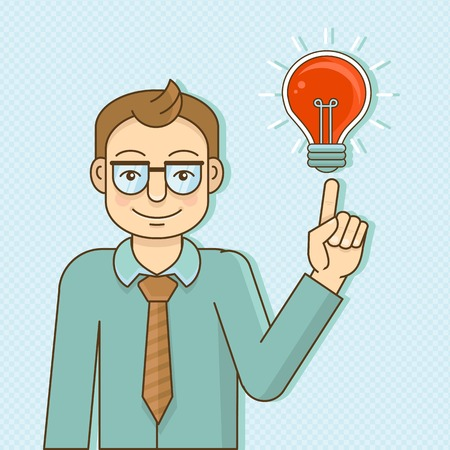 Vector character in flat style - smart man with idea Vector