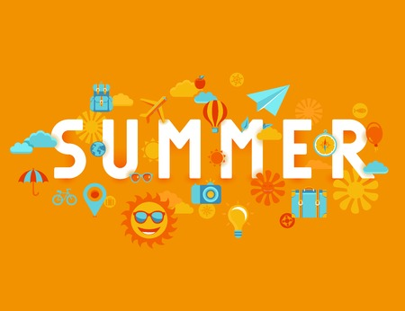 summer season: Vector summer poster in flat style - icons and signs with type - vacation and travel concept