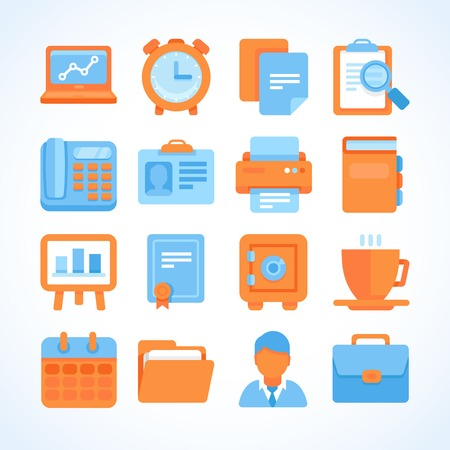 briefcase icon: Flat vector icon set office and business symbols, finance and business design elements and supplies