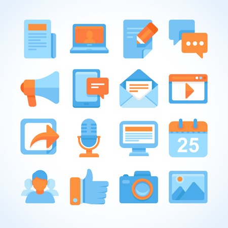 Flat vector icon set of blogging symbols, internet marketing design elements and social network communication Çizim