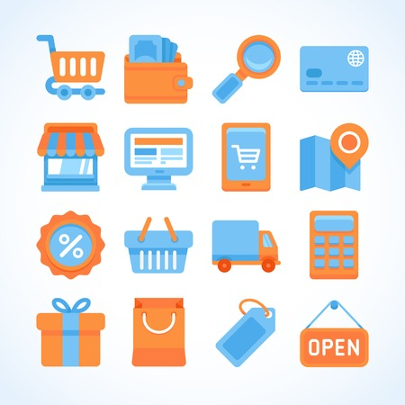 Flat vector icon set of shopping symbols, internet shopping design elements and online payment and purchase