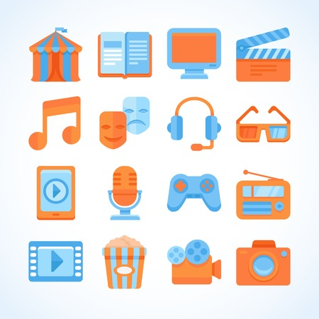 Flat vector icon set of entertainment symbols, multimedia design elements and video  signs and buttons Vector