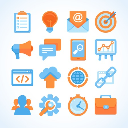 feedback link: Flat vector icon set of SEO symbols, internet marketing design elements and online business signs Illustration