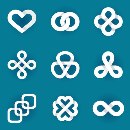 Design vector shape templates - infinity lines and symbols - white ribbons and icons Vector