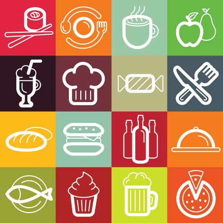 Vector set of design elements and symbols for bars, cafes, restaurants and coffee-houses - different food and kitchen related icons and emblems Vector