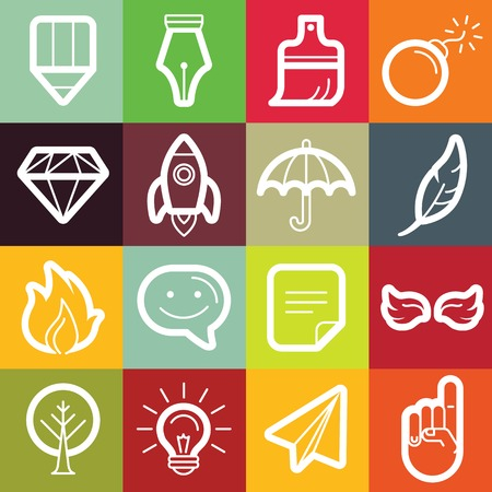 freelance: Vector set of design elements and symbols for freelance designers and writers - different icons and emblems