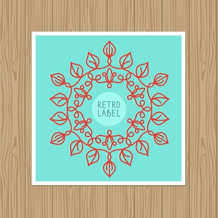 vector vintage greeting card with outline frame and space for text Vector