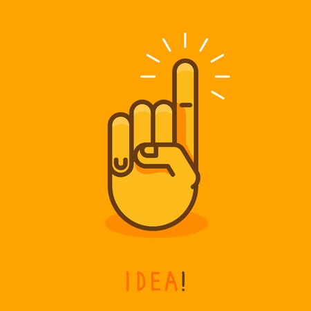 pointing up: vector abstract creative concept - hand icon with finger pointing up - illustration in outline style
