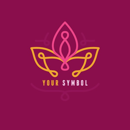simple flower: Vector abstract emblem - outline monogram - flower symbol - concept for organic shop or yoga studio