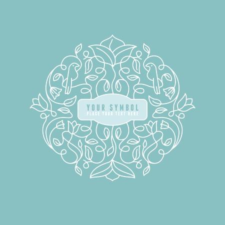 гребень: Вектор абстрактного свадьба монограмма - наброски иллюстрация - с копией пространства для текста