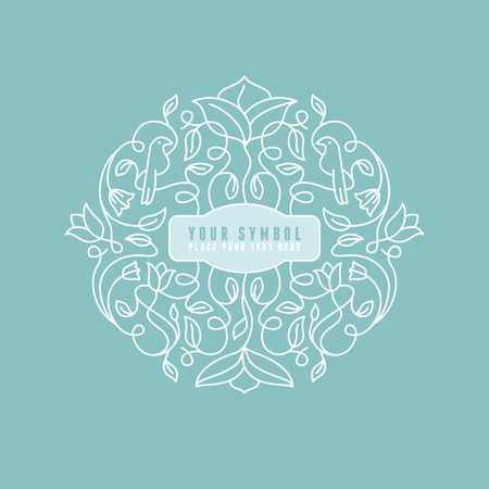 outline flower: Vector abstract wedding monogram - outline illustration - with copy space for text