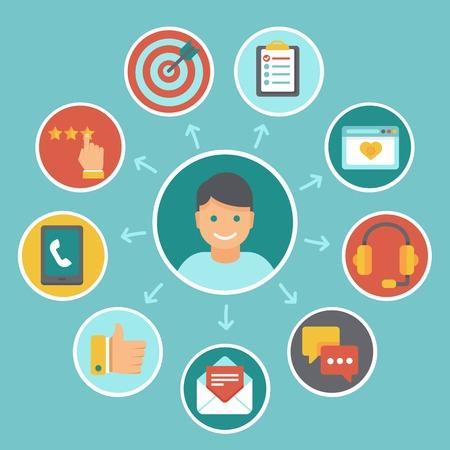 relation clients: Vecteur service � la client�le plat concept - des ic�nes et des �l�ments de conception infographique - exp�rience client Illustration
